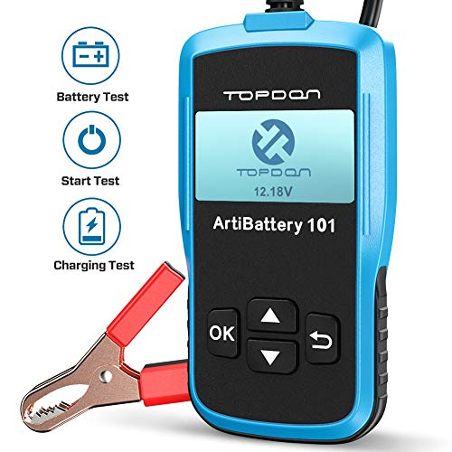 TT TOPDON AB101 Car Battery Tester 12v on Cranking Charging System and Battery Load 100-2000 CCA Alternator Analyzer for Cars SUVs Light Trucks