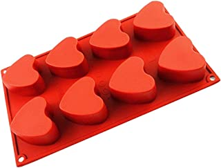 IC ICLOVER Vermilion 100% Food Grade Silicone Bakeware Cake Mold, Present for Mom, Baking Pan Heart Mold with 8 Cups for Baking Cakes Muffins Valentine Theme Chocolate DIY Soap for Halloween Christmas