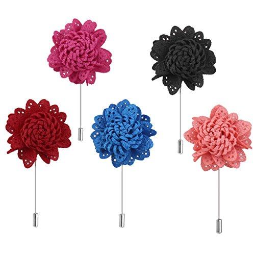 IPOTCH Revers Blume Handgemachte Pfirsich Männer Stick Brosche Zubehör Ansteckblume Krawatte - Pfirsich