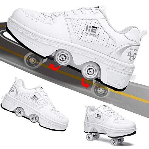 FMXYMC Zapatos para Caminar al Aire Libre, Zapatillas Invisibles para Patines, Zapatos Parkour 2 en 1 / Zapatos para Patinaje sobre Ruedas en línea, Regalos para niños,US 5 /EUR 35