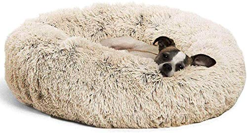 Round Deluxe Haustierbett für Hunde und Katzen, mit Reißverschluss, leicht zu entfernen und zu waschen, Kissen für Katzen/Hunde, 60 cm-120 cm / 5 Größen, beige, 100cm
