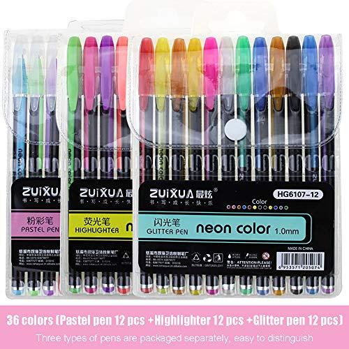 36 colores, 12 bolígrafos pastel, 12 rotuladores y 12 rotuladores de purpurina, juego de libros para colorear manualidades, dibujos, dibujos, rotuladores, rotulador de graffiti