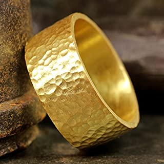 9mm Wedding Band 24K Yellow Gold Vermeil 925 Sterling Silver Hand Forged Hammered Mens Women Unisex Flat Pipe Cut Thick Handmade Ring - FREE Engraving