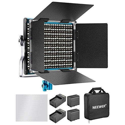 Neewer Dimmbares Bi-Farbe 660 LED Videolicht mit 6600mAh Akku und Ladegerät Set: 3200-5600K CRI 96+ mit U Halter und Barndoor für Kamera Fotostudio YouTube Aufnahme
