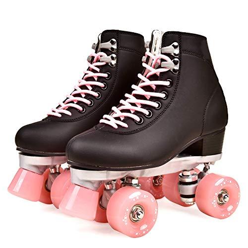 Zjcpow Roller Skates Dytxe Quad for niñas y Mujeres al Aire Libre, Cubierta y Pista de Patinaje, clásico de Alta Manguito con el Sistema de Encaje Ajustable, Rosa, 41 xuwuhz