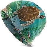 La Tortuga Marina Nada en el océano Acuario del Mundo Submarino Tropical Ilustración Imprimir Navidad Moda Cálido Unisex Gorros Sombrero Gorra