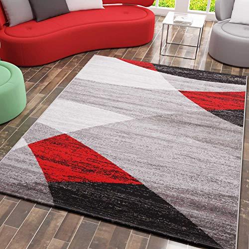 VIMODA Teppich Geometrisches Muster Meliert in Grau Weiß Schwarz und Rot, Maße:80 x 150 cm