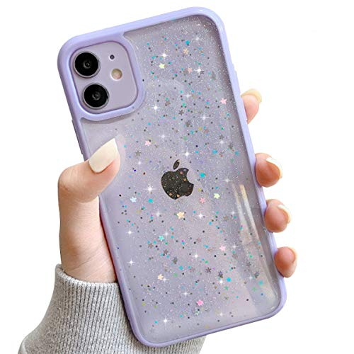 Ownest Compatible with iPhone 11 Case,Clear Sparkly Bling Star Glitter Design for Women Girls Soft TPU Shockproof Anti-Scratch Protective Cases for iPhone 11-Purple