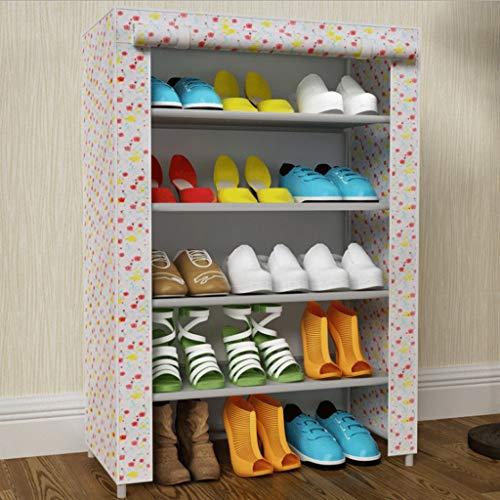 Chenweiwei Schuhregal 4-stufig mit Vorhang Abnehmbarer Schuhschrank mit hoher Kapazität Wasserdicht Staubdicht Schlafzimmer Badezimmer Lobby (Color : White)