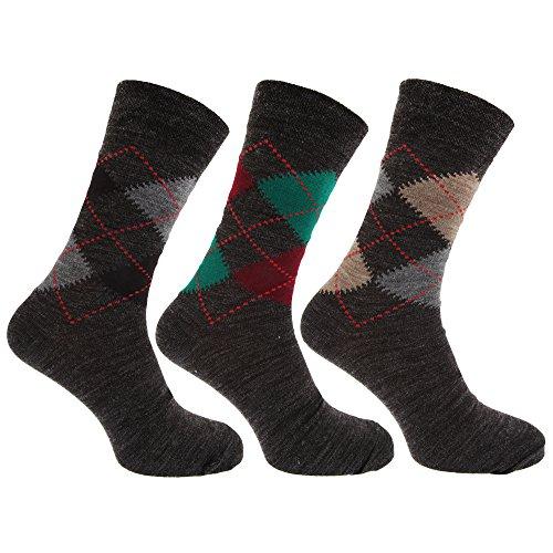 Textiles Universels Chaussettes traditionnelles en mélange de laine (lot de 3 paires) - Homme (39-45 EUR) (Tons gris)