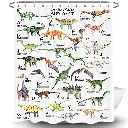 MERCHR Dinosaurier-Alphabet-Diagramm Duschvorhang, Kinder ABC pädagogisch von A bis Z Dinosaurier Namen, niedliche Badvorhänge, lustige Tiere Kinder Badezimmer Dekor Stoff mit Haken, 175,3 x 177,8 cm