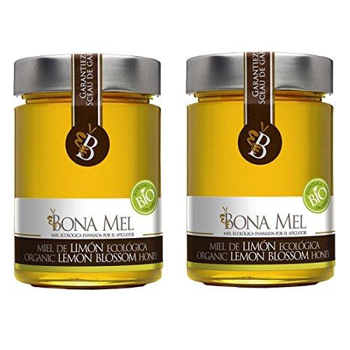 2 Stück Bio Zitronen Honig - Direktimport von Bio Erzeuger aus Spanien, 450 g, 100 % roher und natur, naturbelassen, reine Bio - Imker Abfüllung, nur eigene Bienen, Zitronenhonig