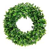 Pauwer 16' Artificial Green Wreath Schefflera Front Door Wreath Outdoor Greenery Leaves Wreath for Home Office Wedding Party Christmas Decor