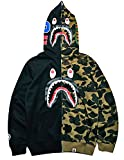 Big Mouth Shark Ape Bape Camo Mens Women Hoodies Sweatershirt Casual Zip Up Hip-Hop Funny Tops H-0black S