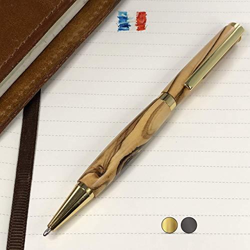 Bolígrafo de madera de Olivo fabricado a mano en Francia. Grabado per