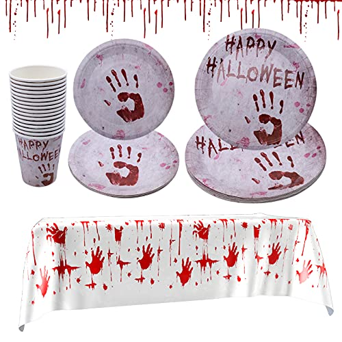 INHEMING Halloween Party Tableware Set ,49Pcs Blood Handprint Halloween Disposable Dinnerware Set Including Plates Cups Tablecloth -Serves 16 Guests