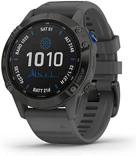 Garmin Fenix 6 Pro Solar, 47mm Nero con Cinturino Grigio Ardesia - GPS Smartwatch con Ricarica Solare, Display a Colori, A...