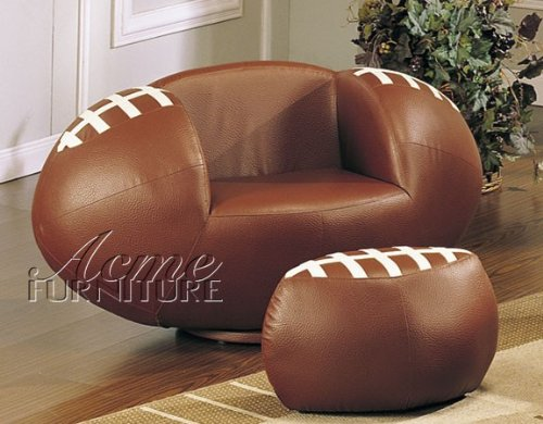 Acme Furniture 2pc Kid's Football Swivel Chair and Ottoman Set