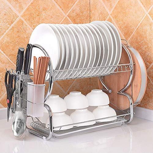 KINLO Abtropfgestell Geschirr, Geschirrabtropfer aus Kohlenstoffstahl 2 Etagen Geschirrständer mit Abtropfbrett Geschirrkorb für die Küche - Tragfähigkeit ca.10 KG - 56 x 38 x 25 cm, Silber-Weiß