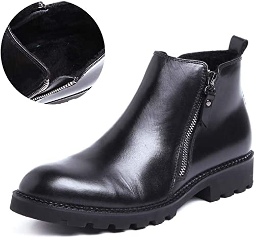 HYLFF hombres Chelsea botas, Invierno de Cuero Caliente Hebilla Botines Brock Vaquero botas de Negocios de Alta Top zapatos, hombres Brogue Botines