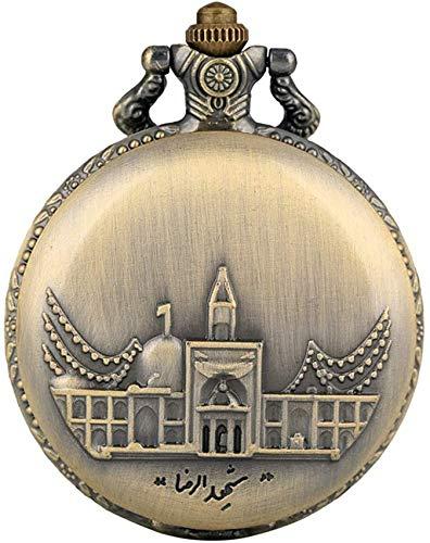 YQGOO Reloj Bolsillo clásico con diseño arquitectónico Antiguo Hombres, Relojes Bolsillo aleación Moda Mujeres, Reloj Bolsillo Cuarzo con Esfera Blanca granniño