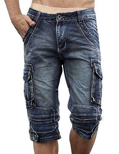 Idopy Herren Cargo-Denim Biker Jeans-Shorts mit Reißverschluss, Blau, 40W/18L