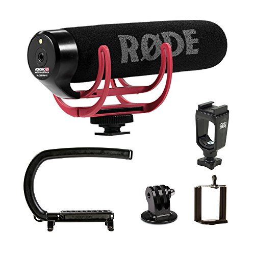 Cam Caddie Scorpion EX Camera Stabilizer with Rode VideoMic Go On-Camera Microphone Bundle for GoPro, DSLR, Mirrorless, Camcorder and Smartphones