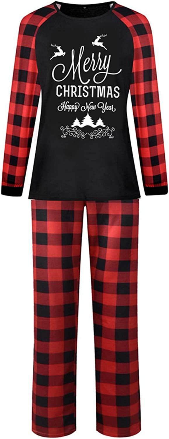 Christmas Pajamas for Kids Matching Family Sets Classic Xmas Outfits Letter Printed Top with Plaid Bottom Mom Dad A