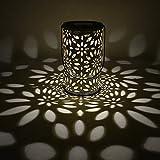 Demiawaking Lanterna Solare Decorativa a LED Vintage Lampada da Giardino Impermeabile in Metallo Luce solare per Prato Percorso del Giardino (Fiori intagliati)