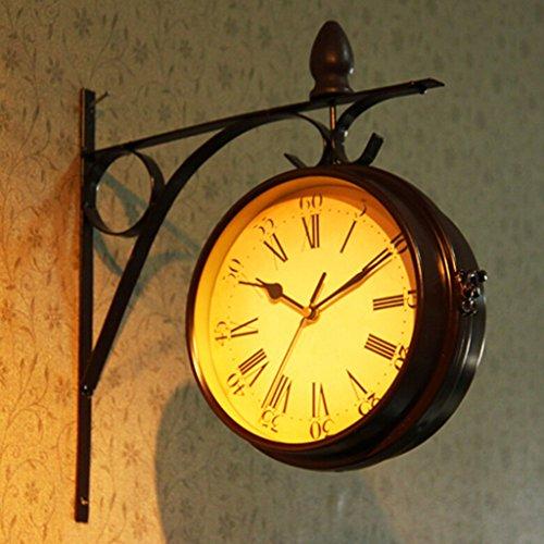 Nclon 両面 掛け時計 ウォールクロック,欧州 レトロ ミュート サイレント静か 錬鉄 ラウンド 金属 壁時計 壁掛け時計 32 * 33 Cm