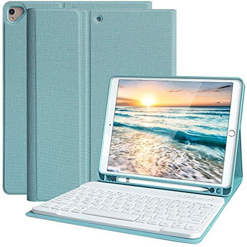 Funda Teclado iPad 10.2 9th Gen 2021, Funda iPad 2020 con Ranura para Lápiz y Español (Incluye Letra Ñ) Teclado Bluetooth Inalámbrico Desmontable para iPad Air 3/A2603/A2604/A2605- Cubierta Magnética