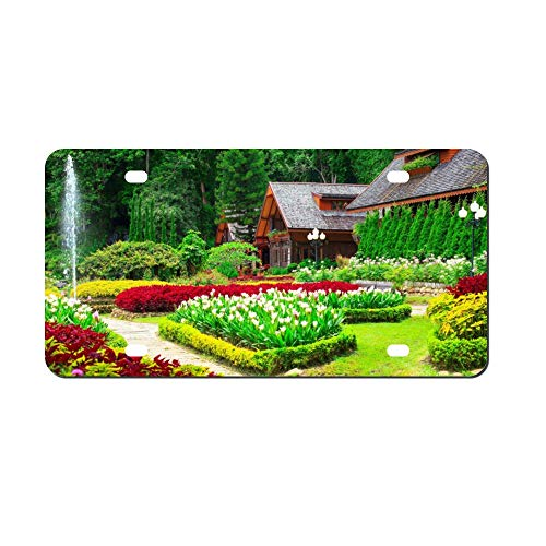 Beautiful Colorful Garden Hd Walpaper Front Vanity Plate,Aluminum Car Tag Holder,Licesen Plate Frame,Auto Accessory Gifts