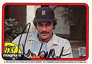Tom Selleck autographed trading card Magnum PI 1982 TV Show SC #31 Detroit Tigers Hat