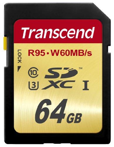 Transcend TS64GSDU3E Tarjeta de Memoria SDXC, 64 GB, UHS-I U3 (95 MB/s de Lectura, 60 MB/s de Escritura, en Paquete abrefácil)