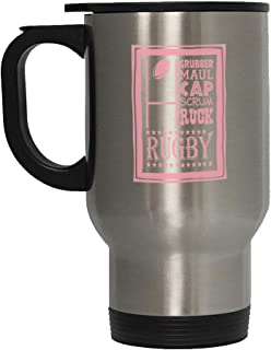 Soft Pink Grubber Maul Cap Scrum Ruck Rugby Steel Travel Mug - Stainless