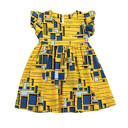 YOUNGER TREE Girls African Outfits Summer Clothes Strap Short Sleeve Dashiki Style Dresses Kids Girl Skirt
