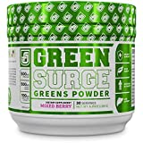 6. Green Surge Green Superfood Powder Supplement - Keto Friendly Greens Drink w/Spirulina, Wheat & Barley Grass, Organic Greens - Green Tea Extract, Probiotics & Digestive Enzymes - Mixed Berry - 30sv