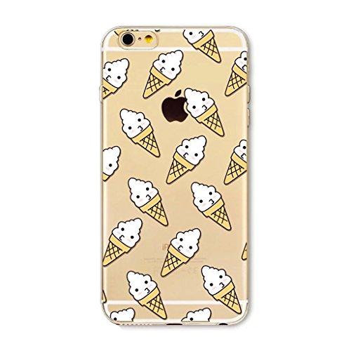 MUTOUREN teléfono Caso Cubrir Volver Piel Protectora Shell Carcasas Funda para iPhone 7 Plus Funda de Silicona TPU - Conos de Hielo Blanco, Conos de Helado
