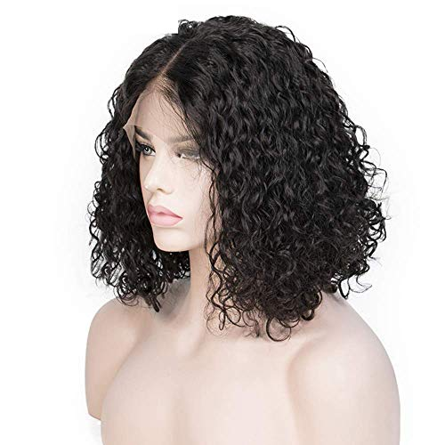 ShowJarlly 13x4 avant de lacet cheveux humains perruques bouclés pour les femmes noires Remy brésilien 180% densité bouclés avant de lacet perruque (8inch 180% density)
