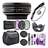 Samsung 30mm f/2.0 Pancake Lens (Black) for NX Mount Cameras (EX-S30NB) Deluxe Bundle with Padded Camera Case + 3PC Filter Kit UV/CPL/F + Lens Cap Keeper + Cleaning Kit + More
