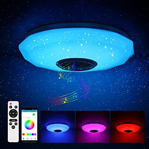 36W Deckenleuchte mit Bluetooth-Lautsprecher, Vangonee Smart APP Control + Romote Dimmbares weißes warmes Licht RGB Farbwechsel, LED Unterputz-Deckenleuchte für Schlafzimmer, Wohnzimmer, Esszimmer