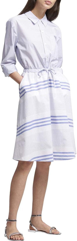DKNY Womens Mixed Stripe TieWaist Shirtdress