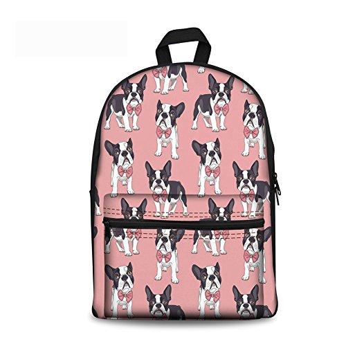 doginthehole Boy Girls School Bookbag French Bulldog Backpack Travel Casual Daypack