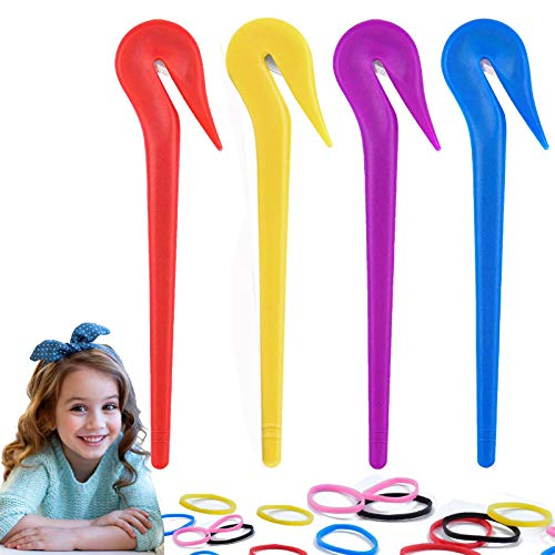 Elastic Hair Bands Remover, Pony Pick for Cutting Pony Rubber Hair Ties, 4pcs Pain Free Ponytail Remover Tool with 60pcs Thickened Colored Rubber Hair Ties