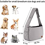 PETTOM Dog Sling Carrier Grey Small Dog Puppy Sling Pet Rabbit Cat Hands Free Adjustable Shoulder Carry Handbag with Mat Pad for Outdoor Travel 16