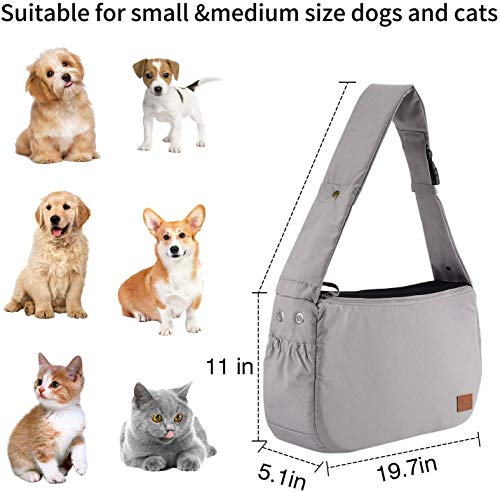 PETTOM Dog Sling Carrier Grey Small Dog Puppy Sling Pet Rabbit Cat Hands Free Adjustable Shoulder Carry Handbag with Mat Pad for Outdoor Travel 7
