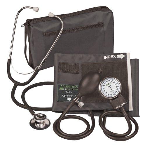 Veridian 02-12701 Aneroid Sphygmomanometer with Dual-Head Stethoscope Kit, Adult, Black