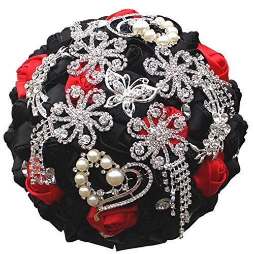 Diamantes de imitación con Flores Flores de Boda Ramos de Novia Cinta de Marfil Broche Ramo de Diamantes de Boda Bouquet-18cm Rojo Negro