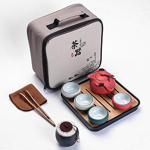 Portable Travel Tea set - Chinese/Japanese Porcelain Gongfu Tea Set, Traditional Tea Ceremony Set with Tea Can,Teapots, Teacups, Bamboo Tea Tray and Travel Bags(Red)