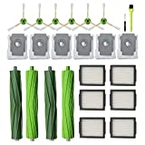 Replacement Parts compatible with iRobot Roomba i7 i7+/i7 Plus E5 E6 Vacuum Cleaner, 2Pack Multi-Surface Rubber Brushes 6 Pack HEPA Filters 6 Pack Side Brushes 6 Pack Automatic Dirt Disposal Bags